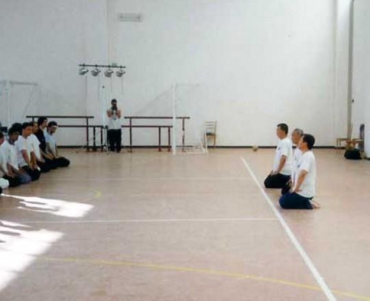 Il Maestro Yang Lin Sheng con i suoi Kung Fu fratelli, Yang Tong e Liang Rong, durante lo stage nazionale esitvo a Montegrimano - Anno 1999