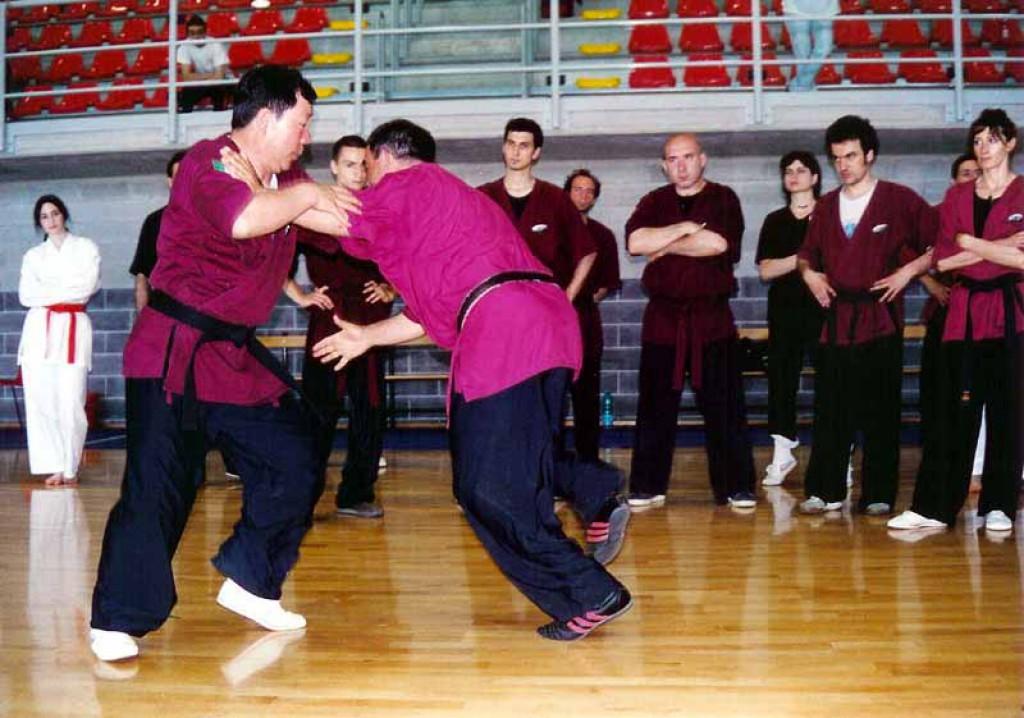 Il Maestro Yang Lin Sheng spiega come sbilanciare l'avversario durante il Tui Shou