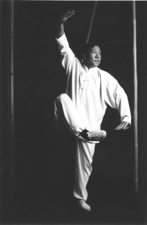 Il Maestro Yang Lin Sheng nella posizione Zuo You Jin Ji Du Li del Taiji Quan Chen