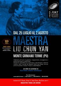 La Maestra Liu Chun Yan a Monte Grimano dal 25 luglio al 2 agosto